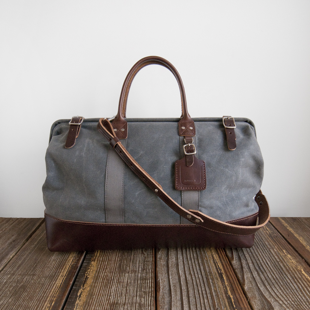 Billykirk Carryall Ash Waxed Canvas Brown Leather