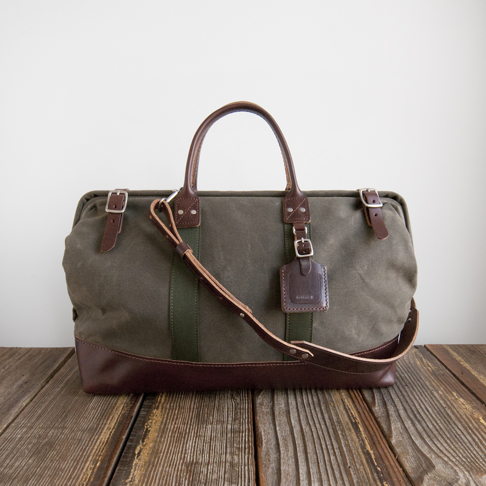 Billykirk Carryall Olive Waxed Canvas Brown Leather