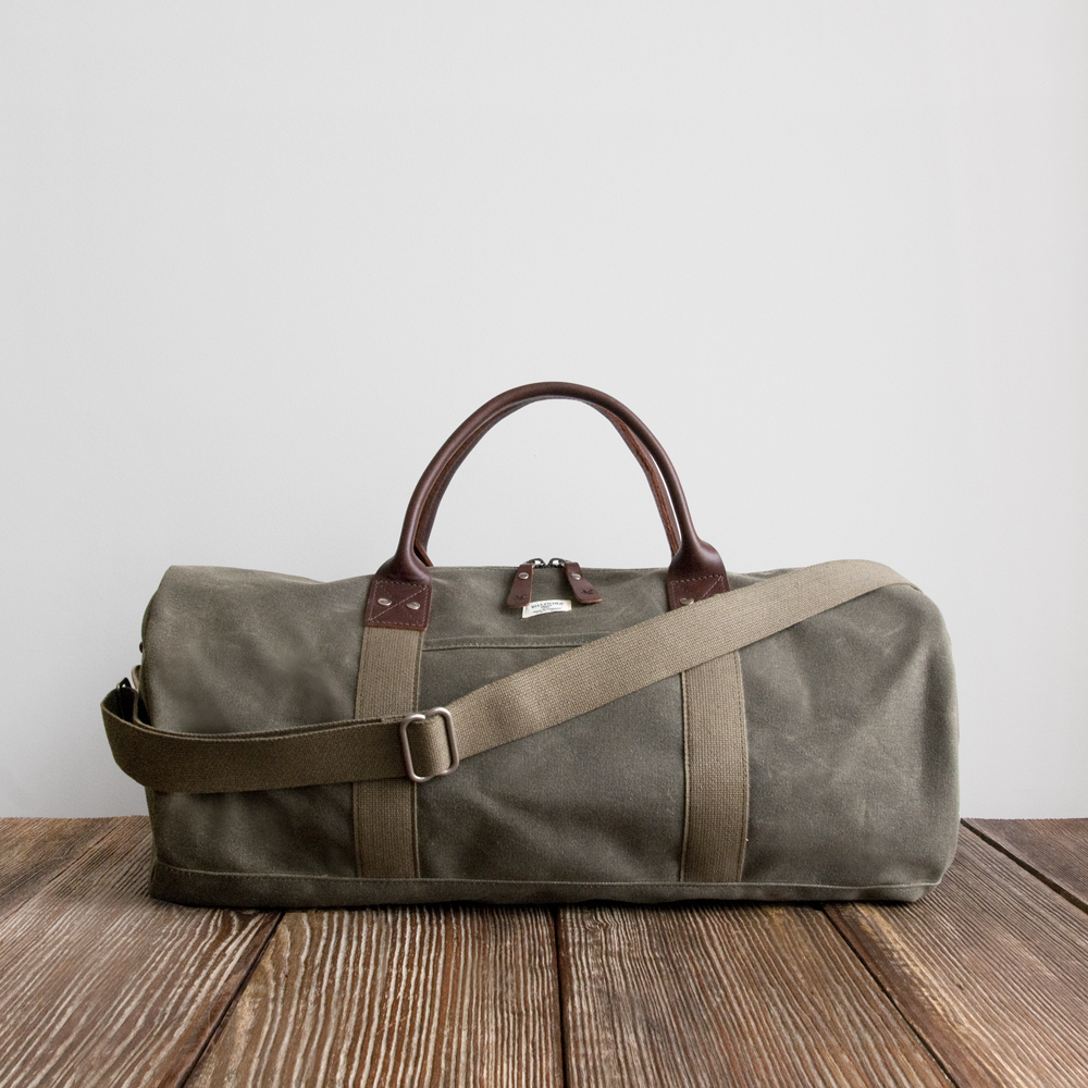 Billykirk Duffle Bag in Olive Wax/Brown Leather
