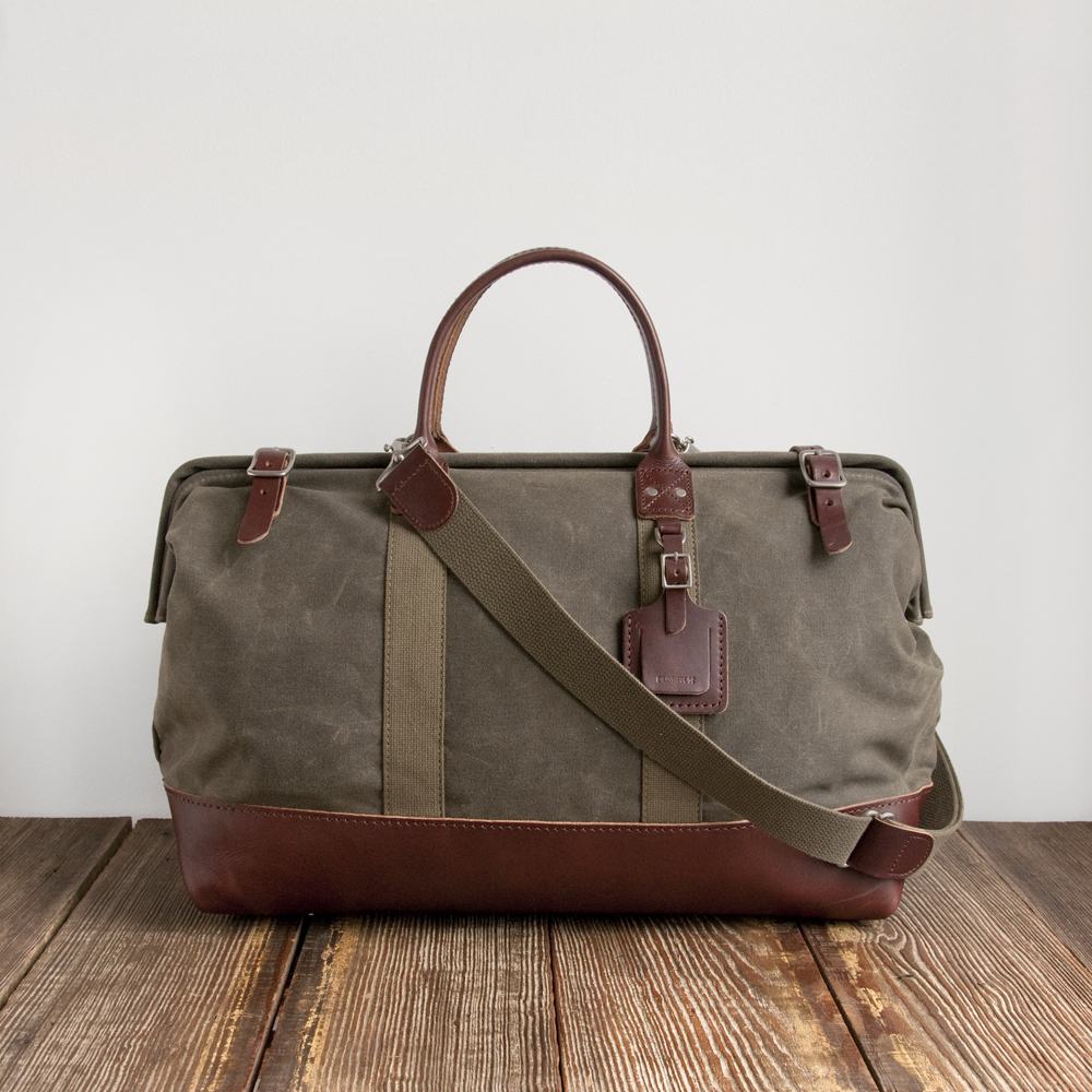 Billykirk Mason Bag in Olive Waxed Canvas Brown Leather