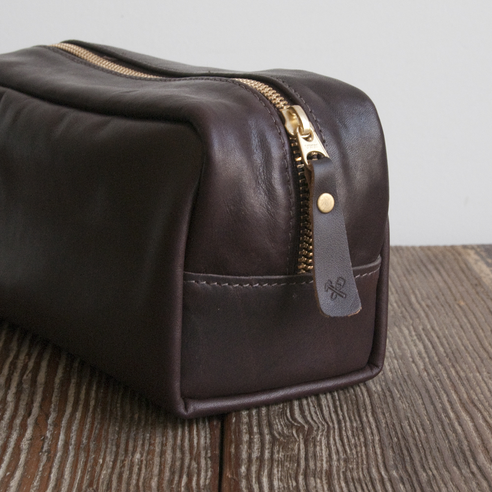 Billykirk Small Zip Dopp Kit in Java Leather