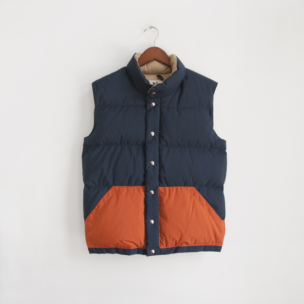 Crescent Down Works Italian Vest in Navy/Olive