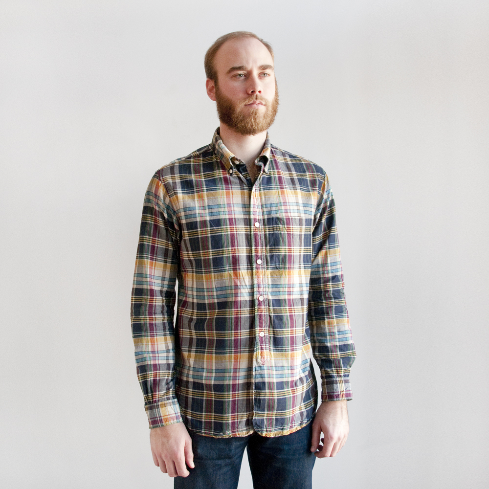 Engineered Garments 19th Century BD Shirt in Navy Madras Plaid