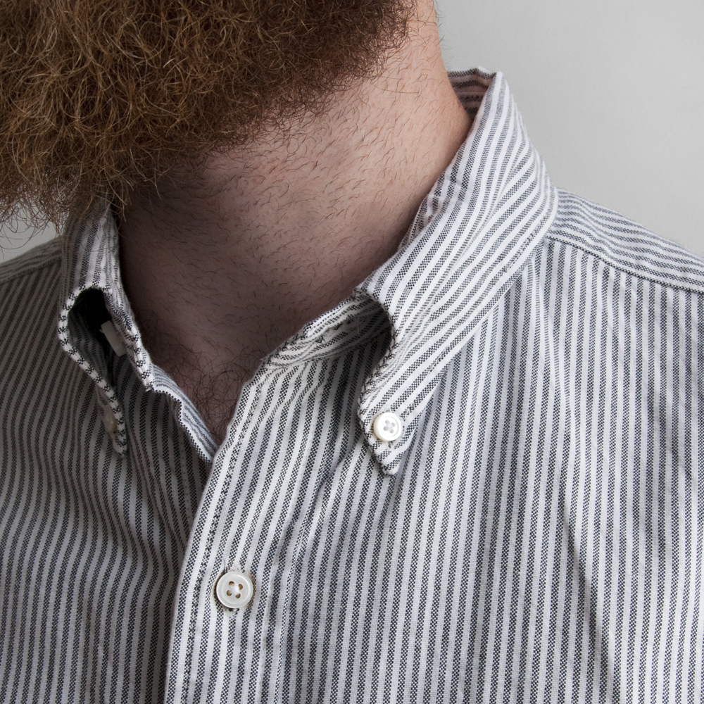 Engineered Garments 19th Century BD Shirt in Stripe Oxford Grey