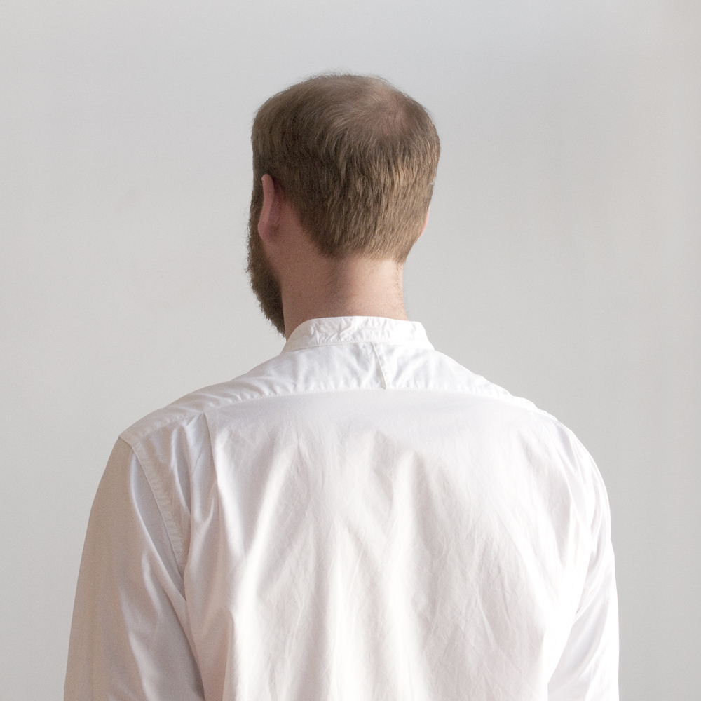 Engineered Garments Banded Collar Shirt in 100s 2ply Broadcloth White