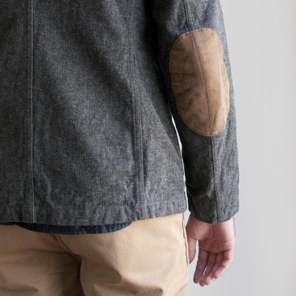 Engineered Garments Bedford Jacket in Grey Heavy Brushed Herringbone
