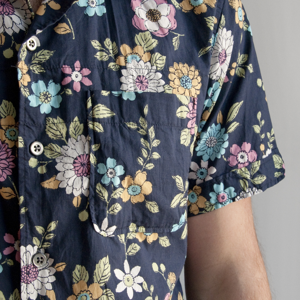 Engineered Garments Camp Shirt in Floral Print Cotton Lawn Navy