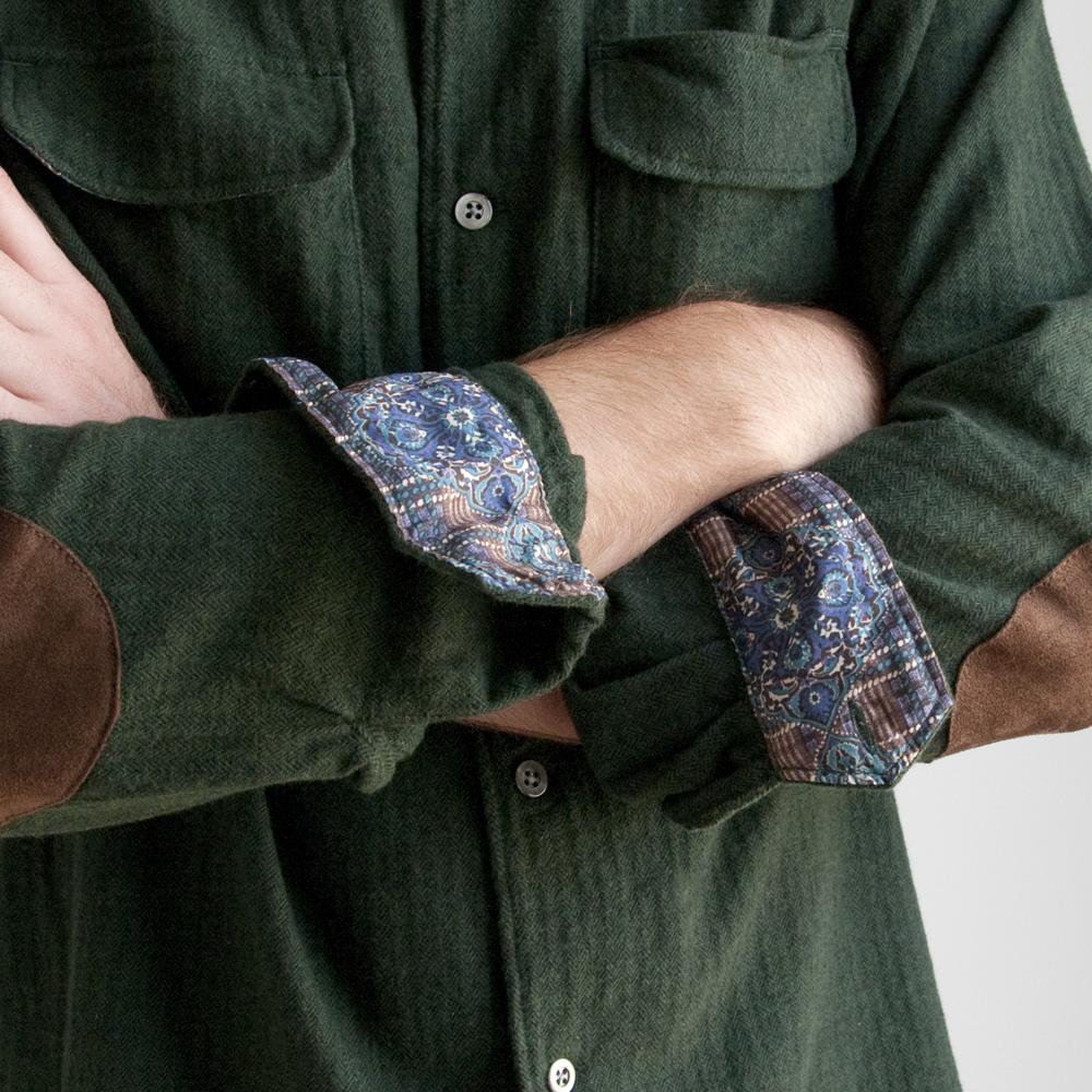 Engineered Garments Classic Shirt in Green Brushed Herringbone