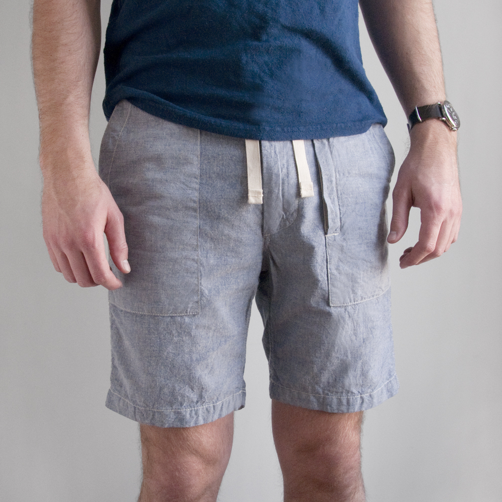 Engineered Garments Fatigue Short in Cotton Chambray Blue