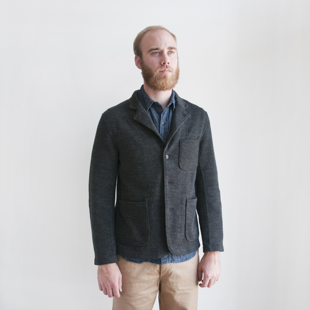 Engineered Garments Knit Blazer in Charcoal Jersey