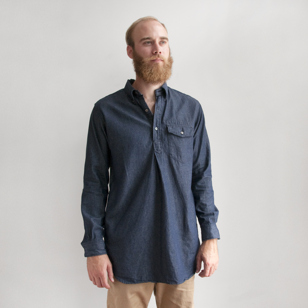 Engineered Garments Popover Long BD in 6oz Denim Indigo