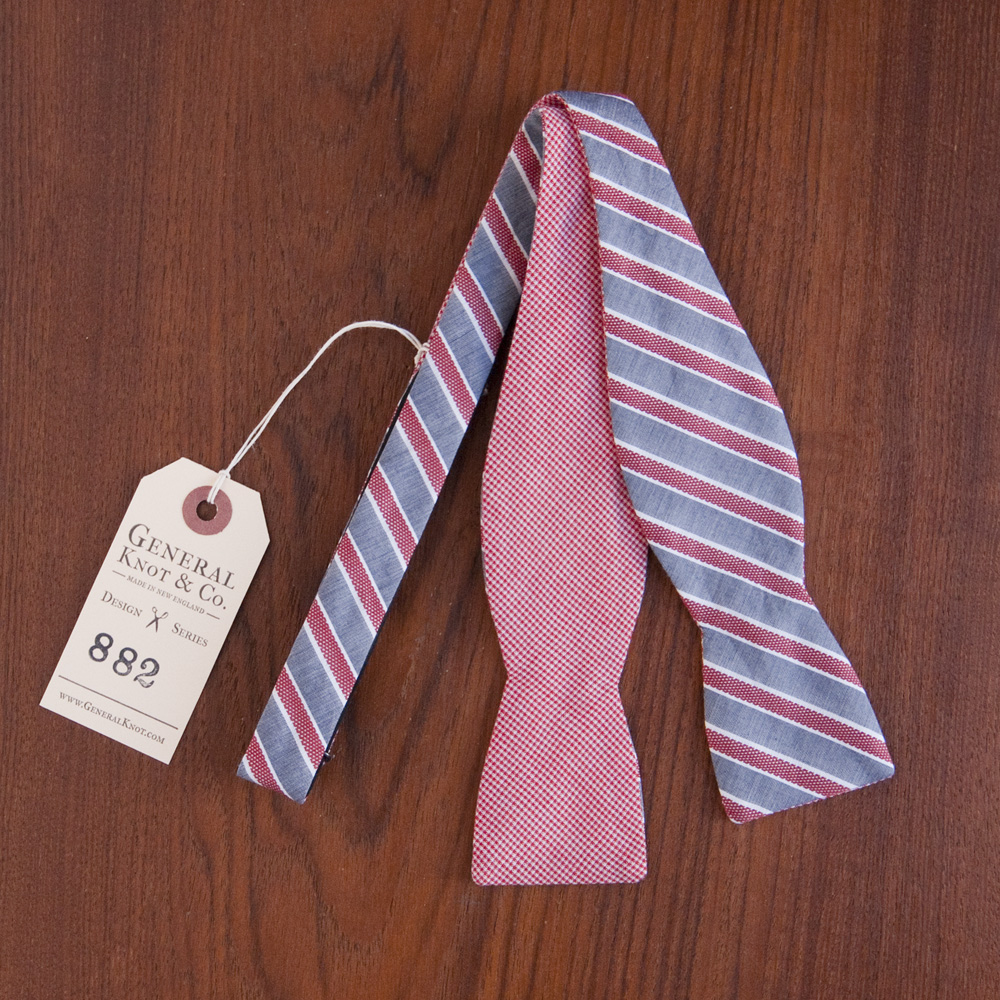 General Knot & Co. Bow Tie Red Microcheck Dobby Stripe