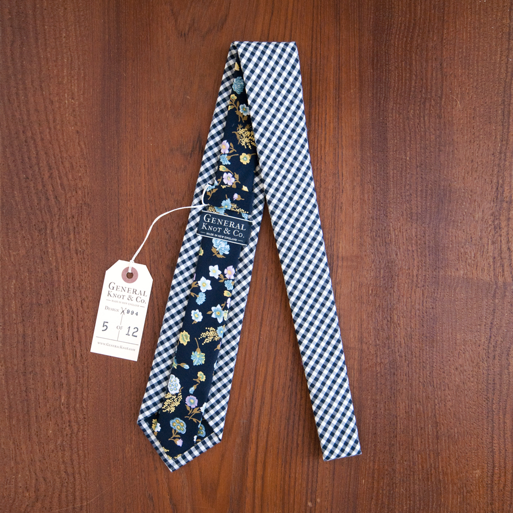 General Knot & Co. Necktie Gingham Check Midnight Floral