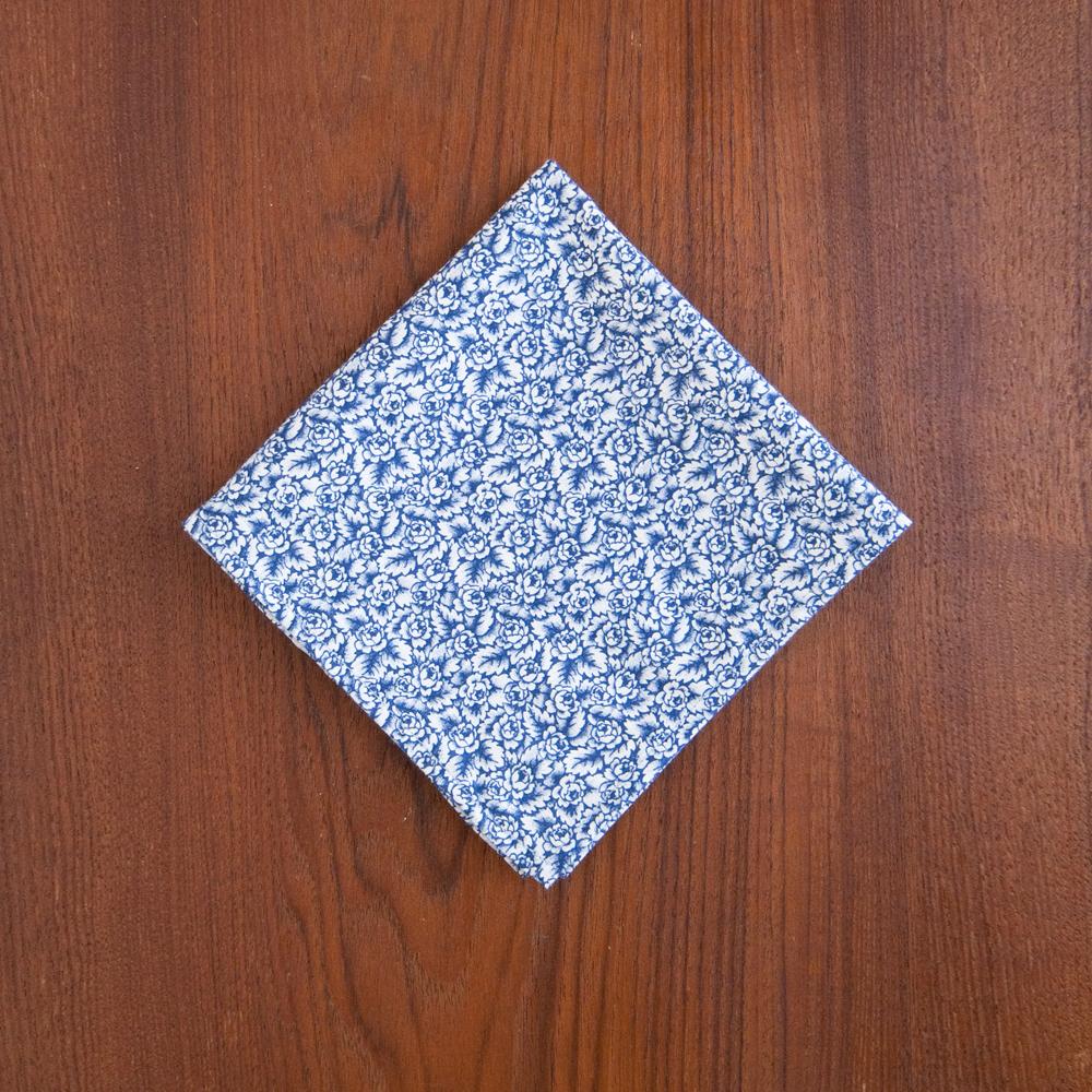General Knot & Co. Pocket Square 1970s Blue Roses