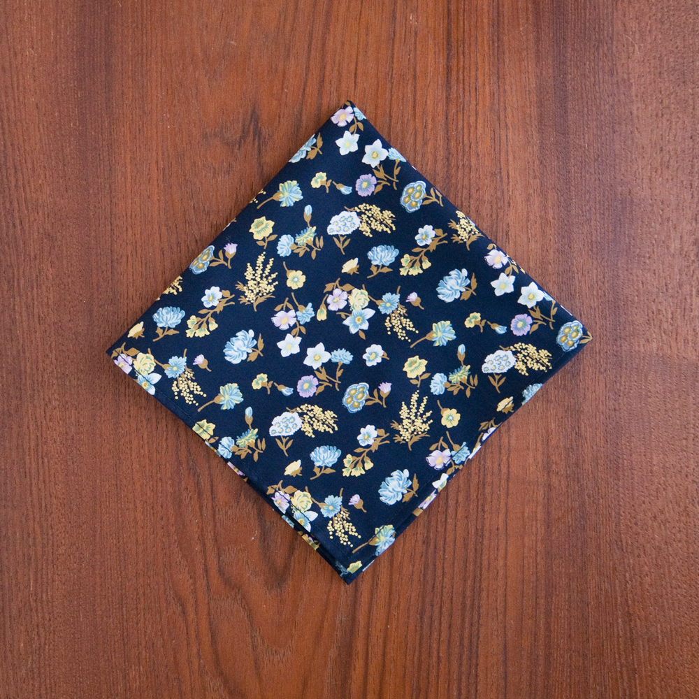 General Knot & Co. Pocket Square Deadstock Midnight Floral