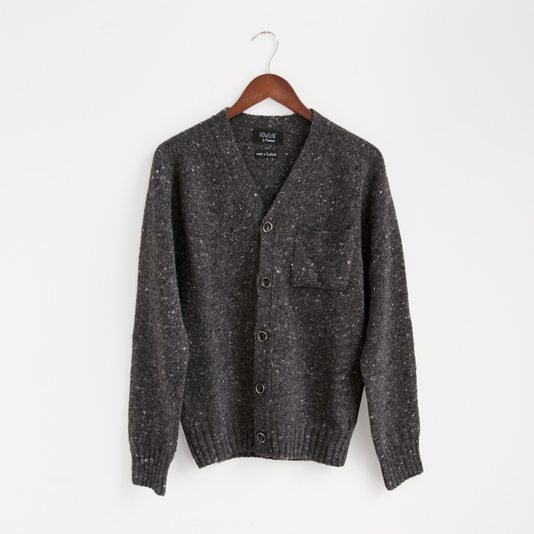 button cardigan grey charcoal wool knit patch pocket