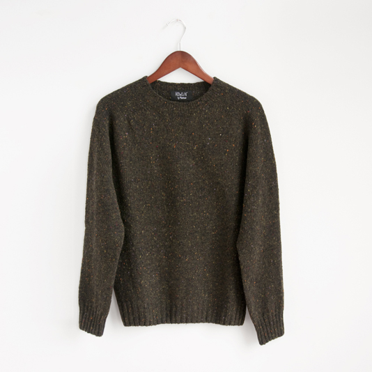 crew neck sweater knit pullover wool green olive