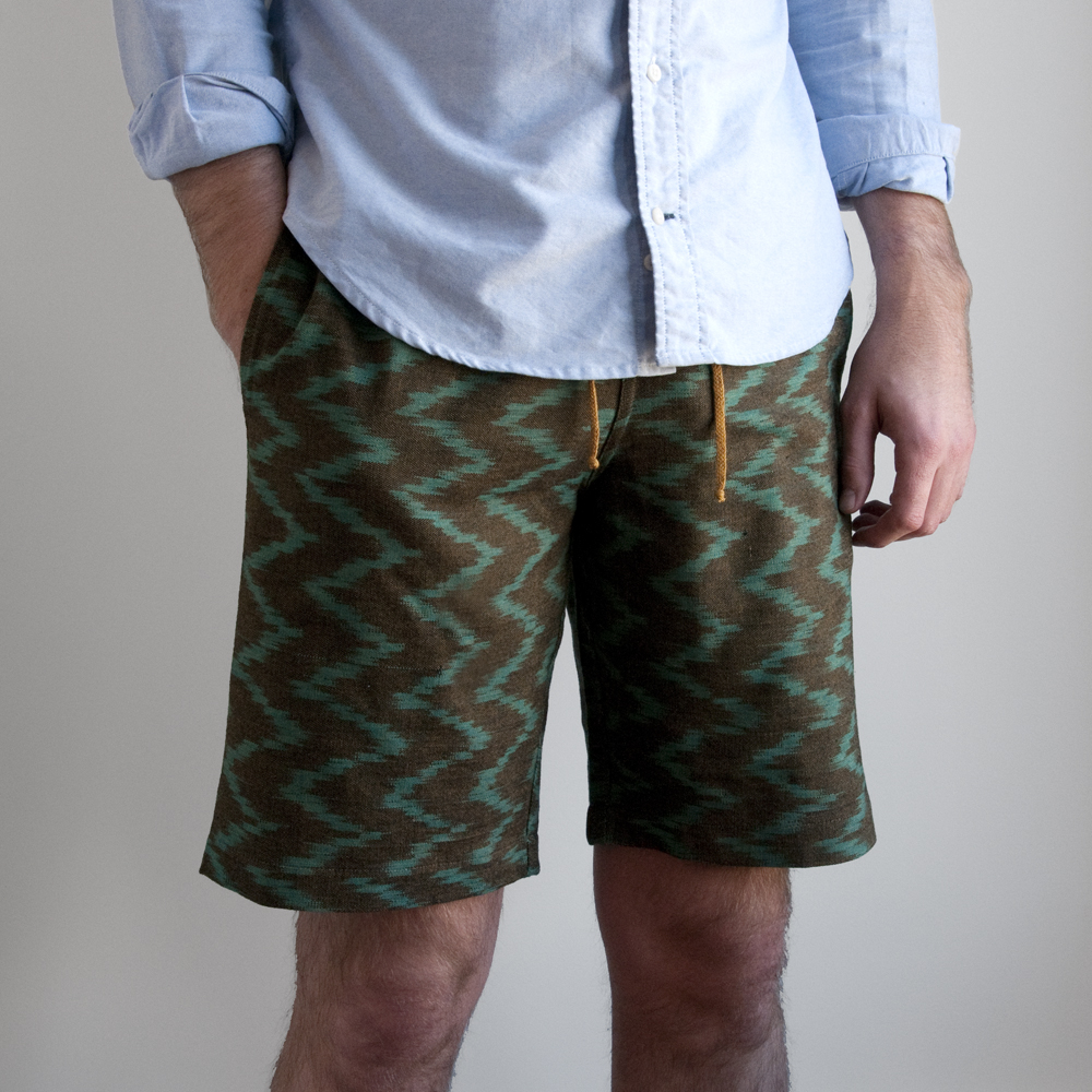jed and marne shorts Guatemalan hand woven fabric