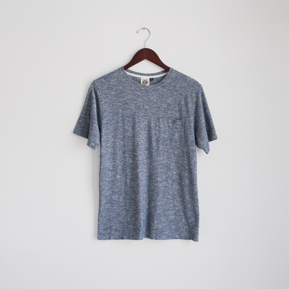 jungmaven pocket tee shirt yarn dyed navy