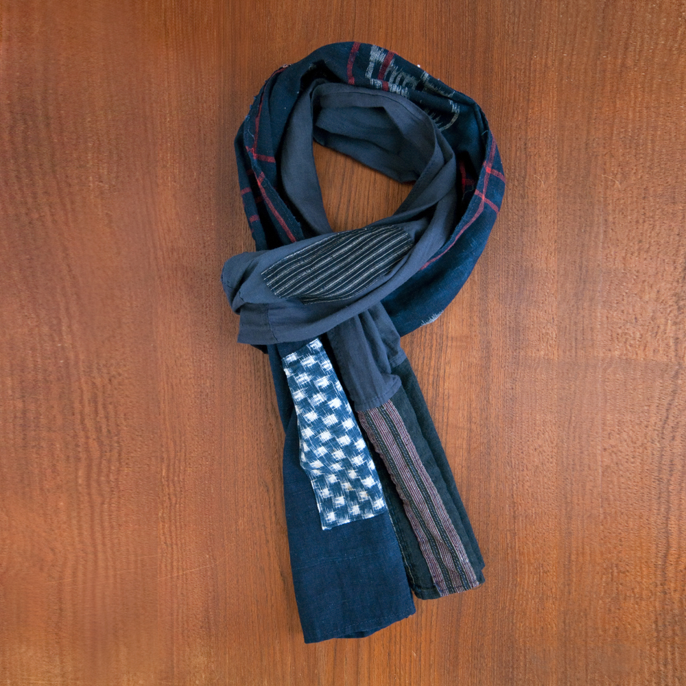 Kiriko Boro Scarf Red Stripe Patchwork