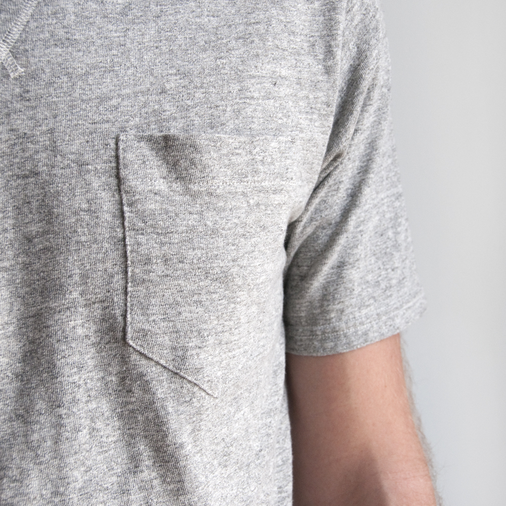 National Athletic Goods V Pocket Tee in Mid-Grey