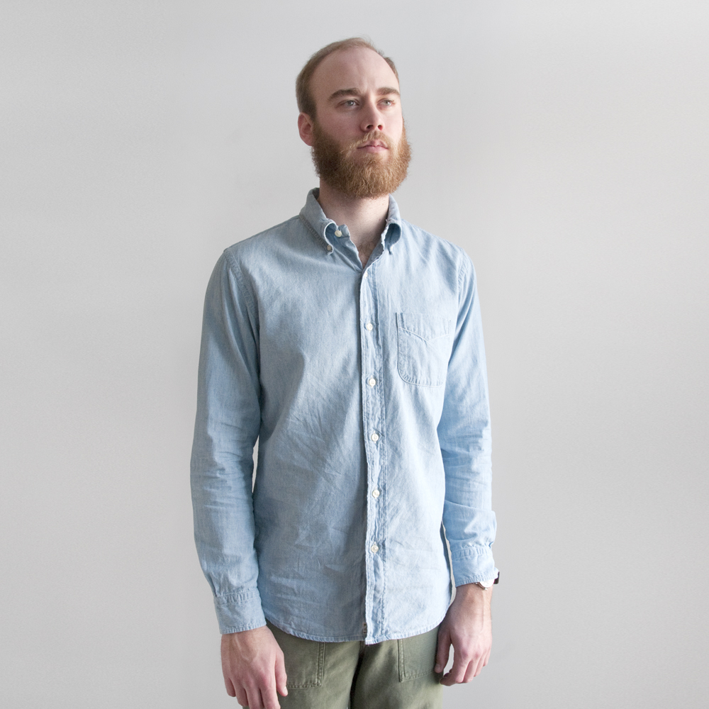 orSlow Button Down Shirt in Chambray Bleach