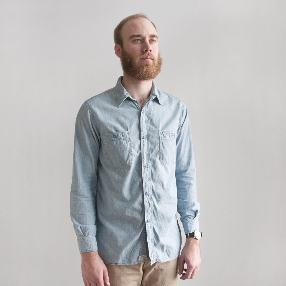 orSlow Work Shirt in Chambray Bleach