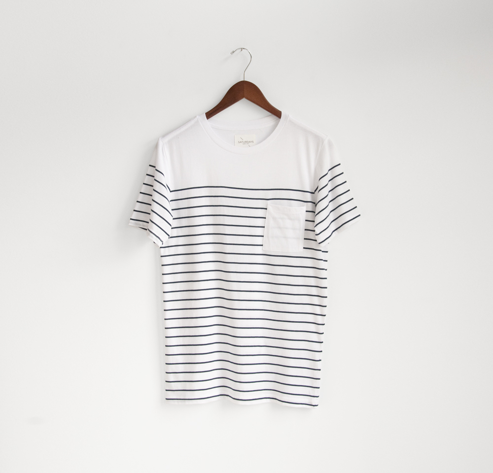 saturdays surf nyc striped pocket tee shirt