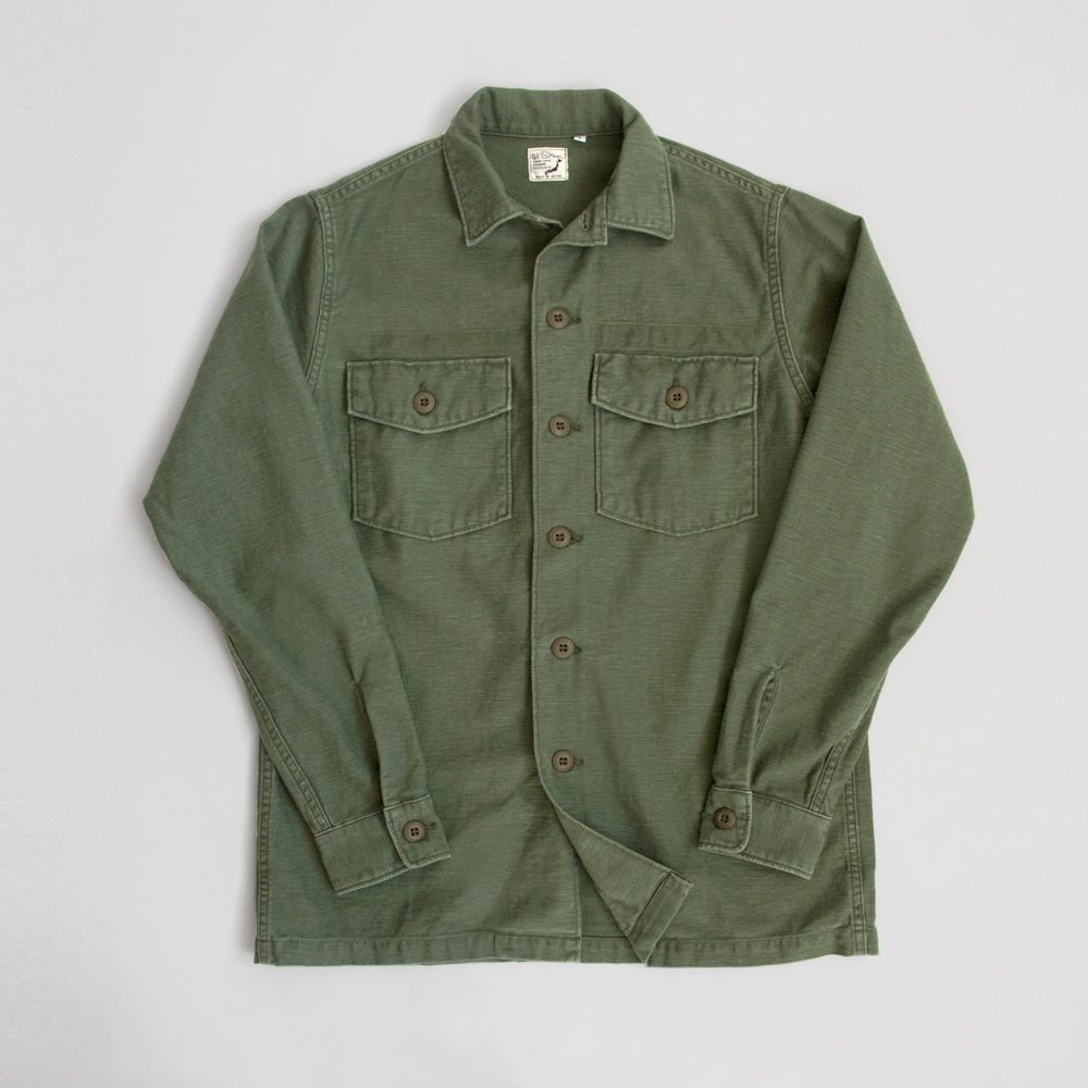 orSlow Army Shirt in Back Satin Used Green