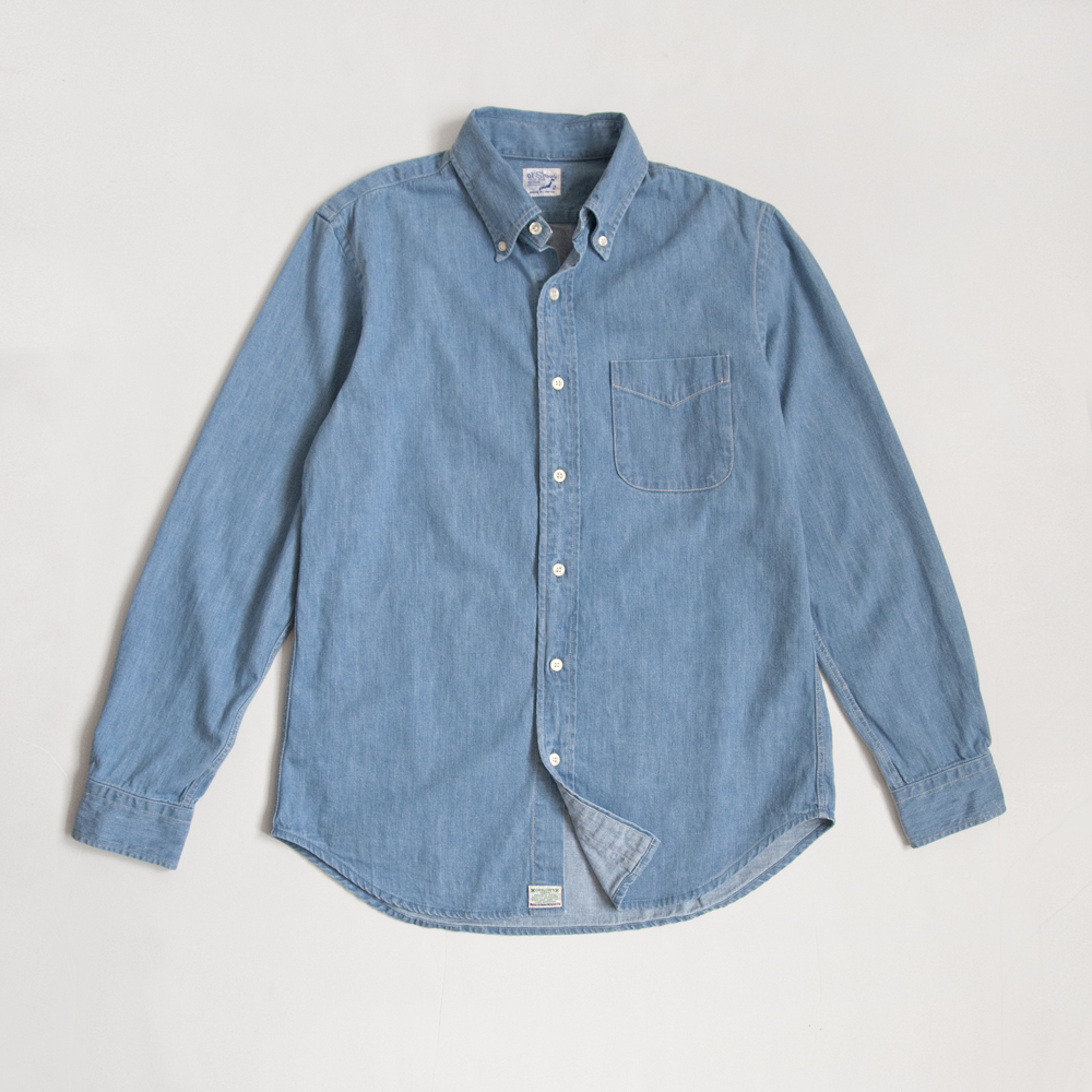 orSlow Button Down Shirt in 6oz Denim Bleach