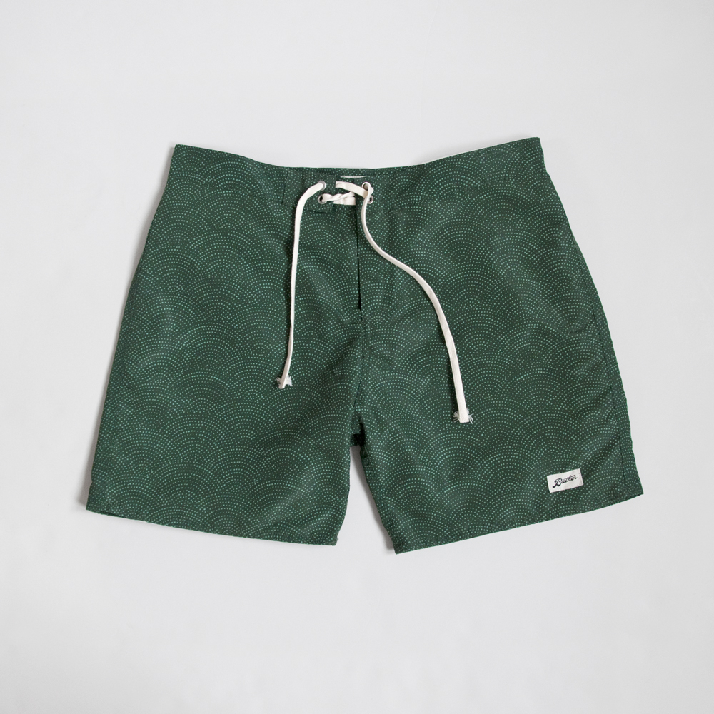 Bather Surf Trunk in Green Wave