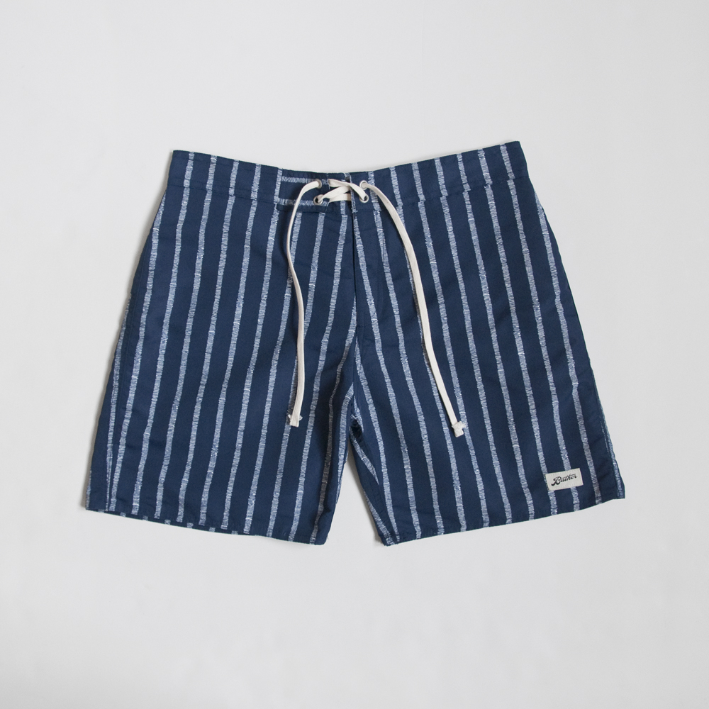 Bather Surf Trunk in Navy Broken Stripe