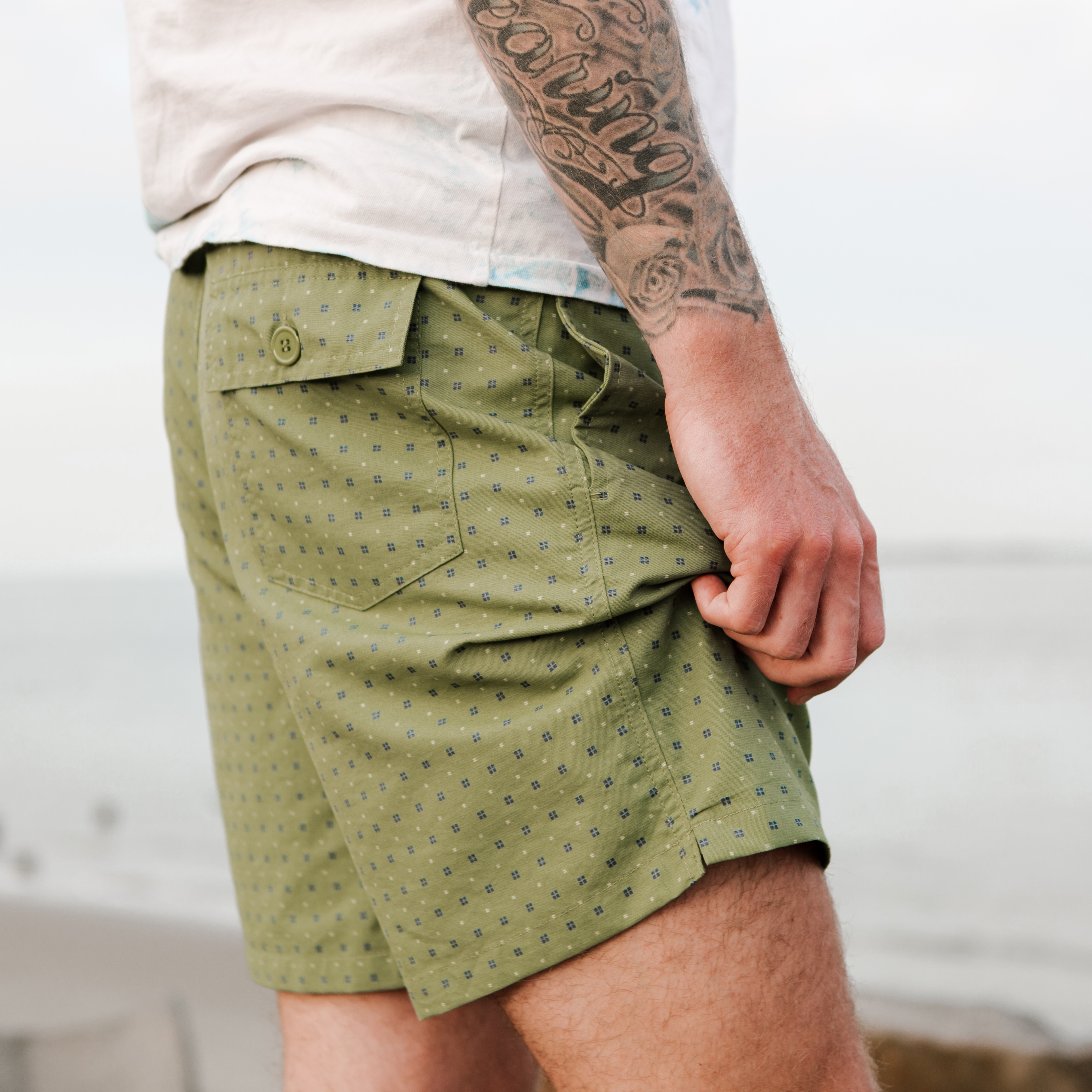 indigo and cotton mollusk surf swim trunks menswear charleston south carolina