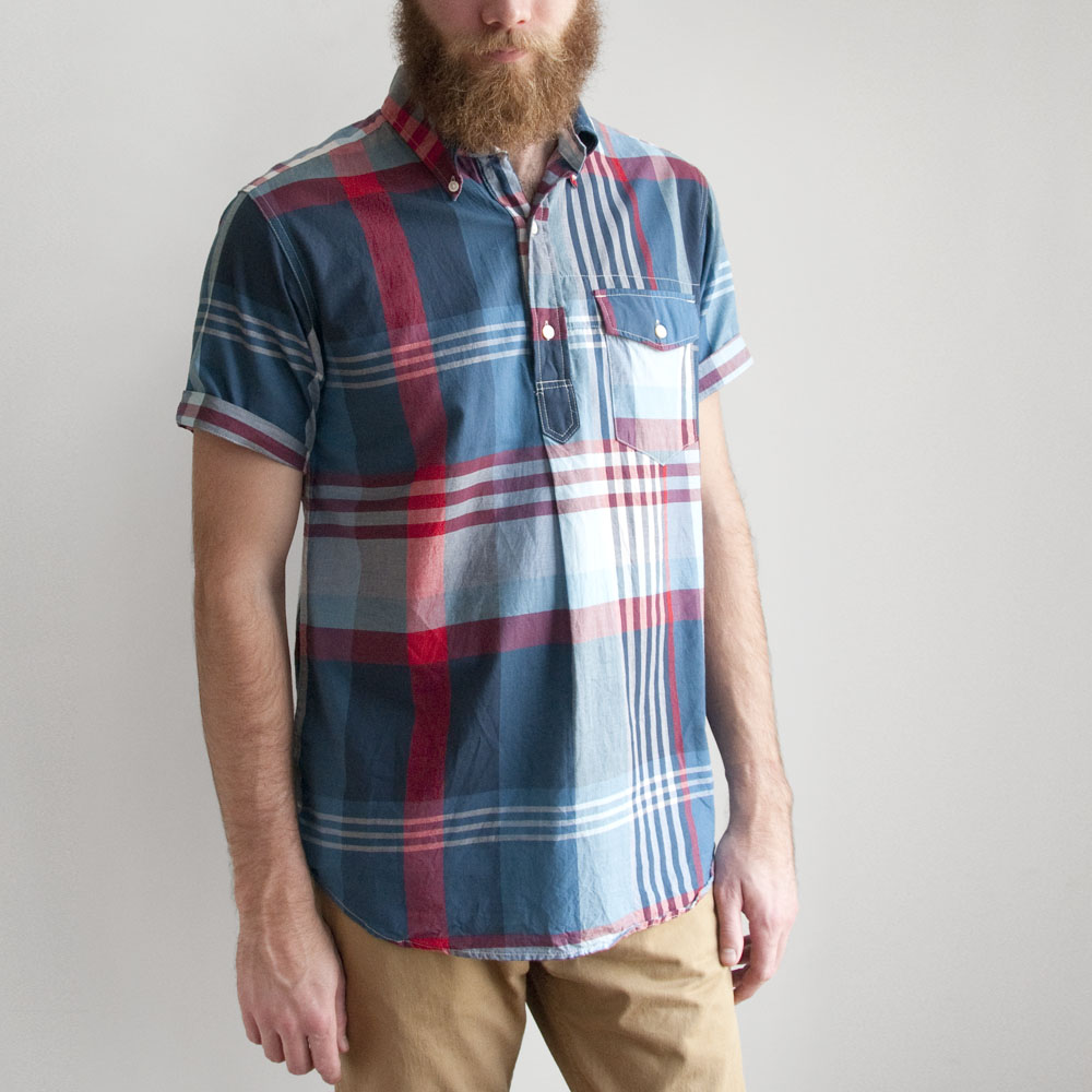 Engineered Garments Popover BD in Big Plaid Blue/Red/White