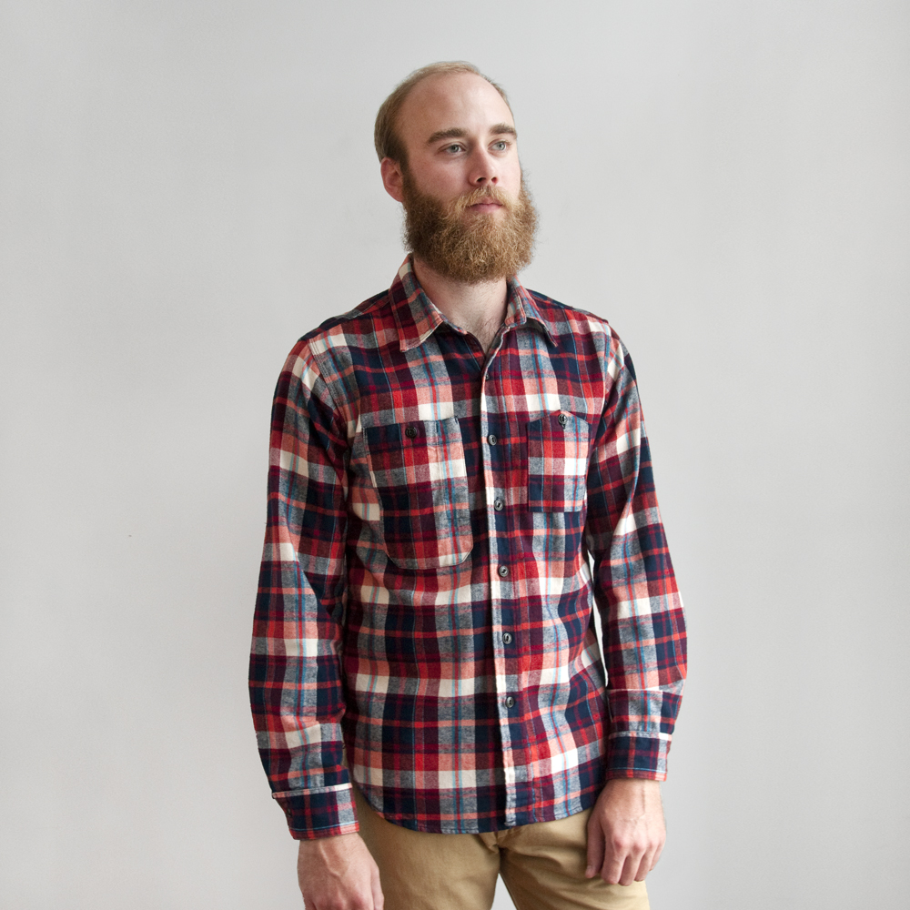 Engineered Garments Work Shirt Plaid Flannel in Red/Navy/White