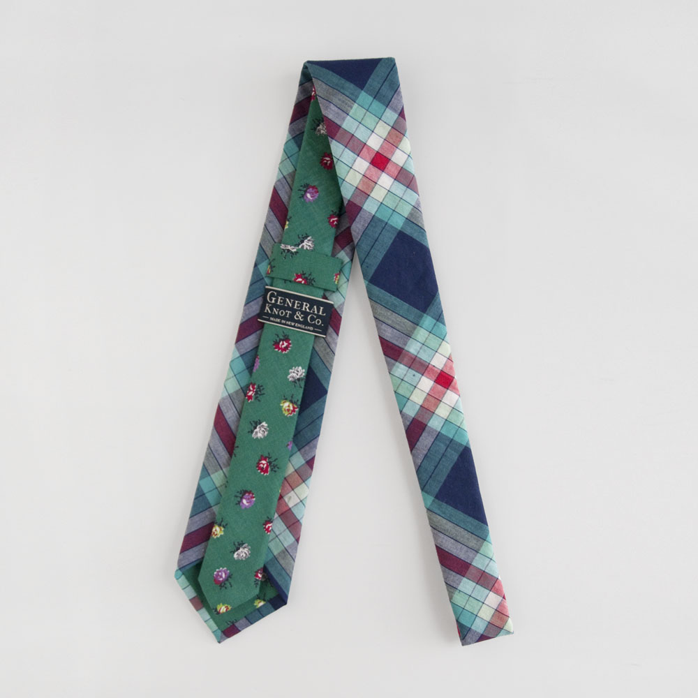 General Knot Two Tone Necktie in Prism Plaid/Emerald Rosebud