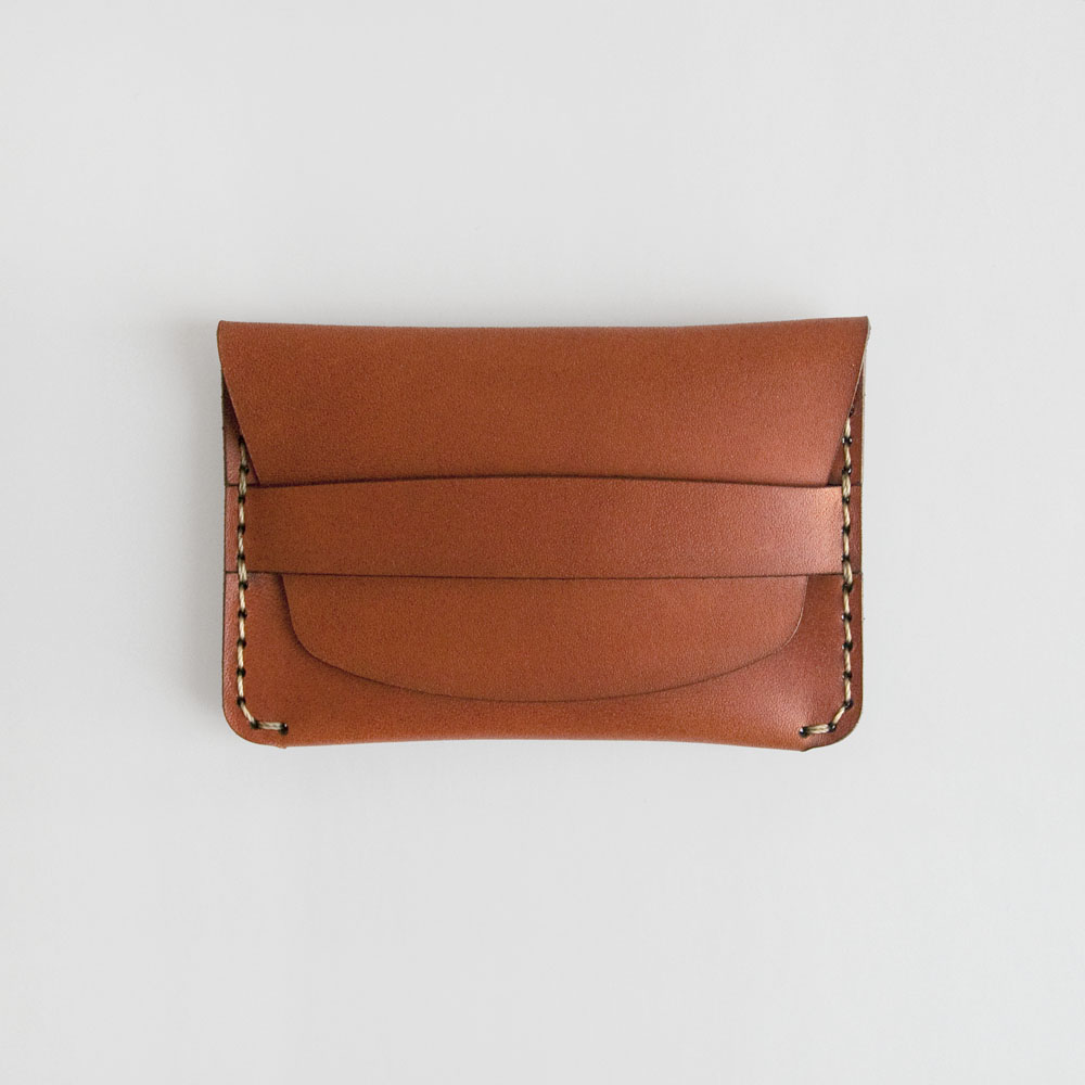 Makr Flap Slim Wallet in Saddle Tan