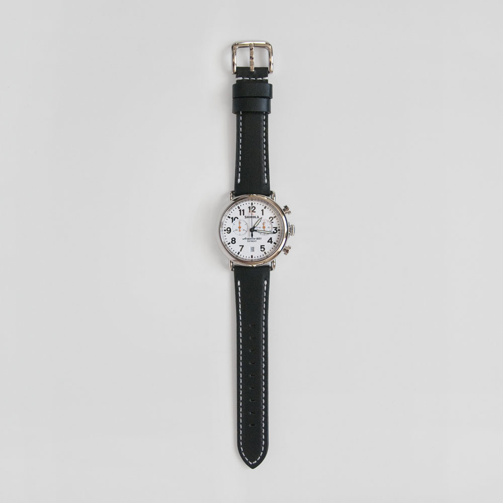 Shinola Runwell Chrono 41mm in Silver Case/White Dial