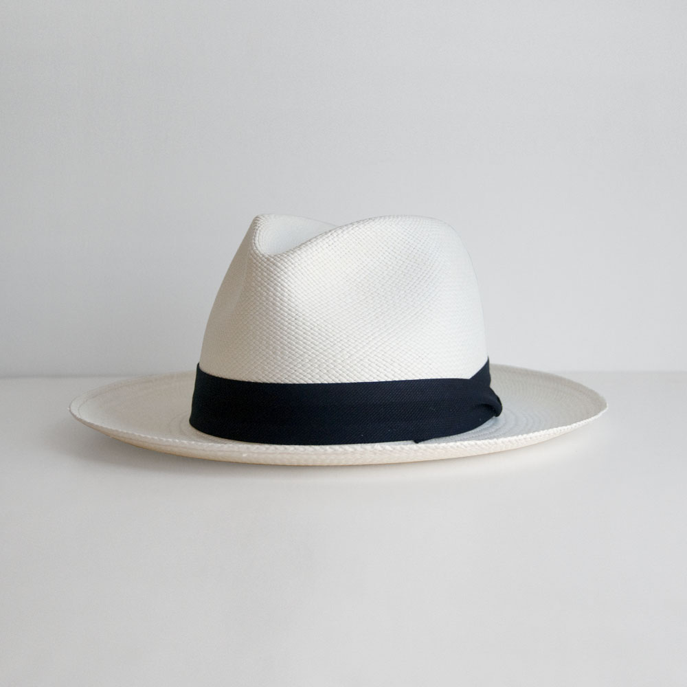 The Hill-Side Panama Hat in Indigo Panama Cloth Band